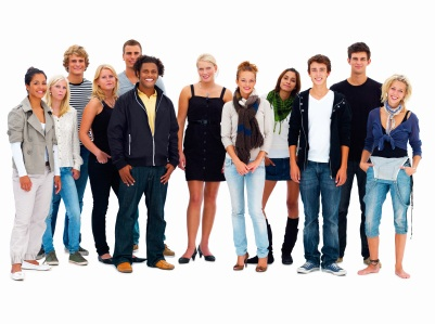 Group of happy friends standing against white background